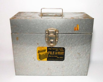 Vintage File Box, Metal File Box, File A Way, Industrial,  File Box, Office Supplies, Desk Supplies