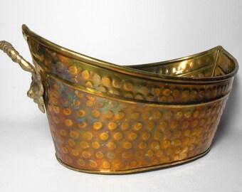 Vintage Brass Planter, Lion Head, Hosley International, Solid Brass, Metal, Brass Basket, Brass Decor, Planter Basket, Brass Planter