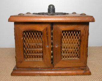 Vintage Coaster Set, Wood, Brass, Retro Coasters, Wood and Cork, Mesh Doors