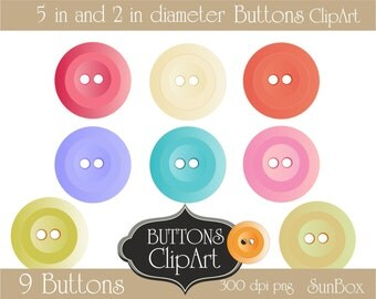 Buttons Clipart Pink Red Green Blue Purple White Buttons 9 ClipArt Images for cards, scrapbooking  - instant download - CU OK