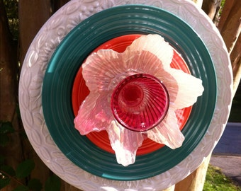 Vintage Glass Garden Flower-Coral and Aqua-Yard Art