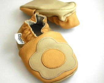soft sole baby shoes handmade infant gift flower yellow beige 12-18 m bebes garcon cuir souple chaussures Krabbelschuhe ebooba FL-15-Y-T-3