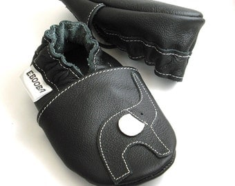 soft sole baby shoes infant handmade elephant black white   12-18m ebooba EL-35-B-T-3