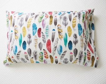 Pillowcase ... Colourful Feathers ... Made to Order