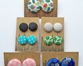 45% OFF SALE Fabric Covered Button Earrings / 7 Pairs / Small Studs / Instant Collection / Bulk Jewelry / Slightly Imperfect / Gifts for Her