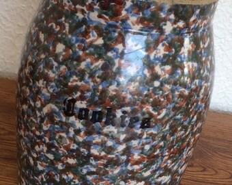Antique Stoneware Spongeware Cookie Jar Rustic Primitive