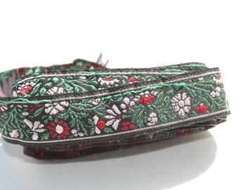 """Vintage Embroidered 1/2"""" Ribbon Trim, Red White Green on Black, Scrapbooking Craft Ribbon 53"""" x 1""""W"""