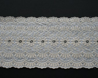 "Vintage Wide Embroidered Trim by t he yard, Ecru Off Natural White Floral, Romantic Shabby Chic Trim BTY x 4 7/8""W"