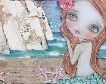 Original 12x6 mixed media painting on wood.