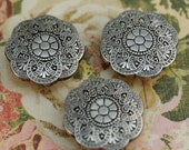 Vintage Silver Colored BUTTON COVERS for Sewing, Crafting, Scrapbooking Supply, Mixed Media, Collage, Beautiful!!! #134