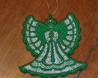 Embroidered Ornament Christmas - Mylar Angel Silver/Green