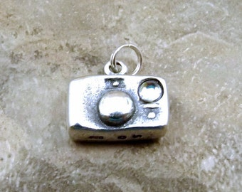Sterling Silver Camera with Crystal Flash Charm on a Sterling Silver Split Ring - 1936