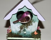 Decorative Birdhouse Windchime, Hand Painted Unique Birdhouse, Miniature Wooden Windchime Home Decor, Part of Sales Goes to Animal Charity
