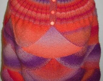 Poncho LUMINEUX - tricoté main en pure laine Drops - création et modèle unique
