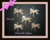 30 Rose Gold Glitter Carousel Horse Die Cuts Punches For Scrapbook Cards Party Confetti Crafts Embellishments Carousel Confetti Rose Gold