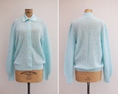 1960s Cardigan - Vintage 60s Baby Blue Knit Cardigan - Fresh Air Cardigan