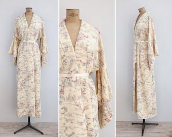 Vintage Kimono - Vintage Cream Kimono Robe - Miyazu Bay Kimono