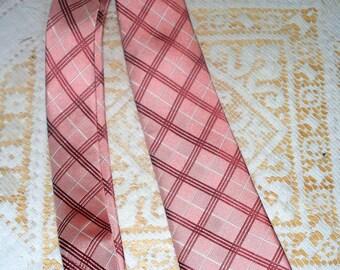 1990s The Tie Bar Men's Tie  - Pink Red White Plaid - Silk