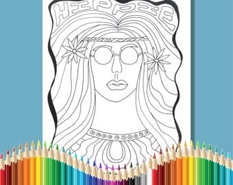 Coloring Pages for Adults Hippie Girl Instant Download