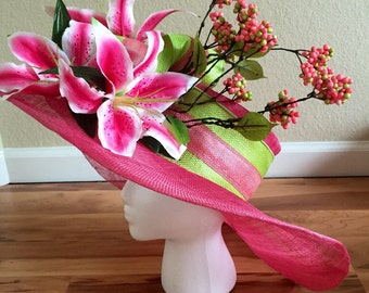 Pink and Lime Oaks/Derby Hat