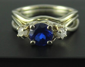 Set of Gold Ring and Band with Sapphire and Rough Diamonds - 14K White Gold Wedding Ring - Engagement Ring - Infinity Design Ring