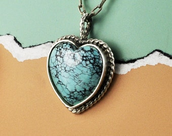 Turquoise Heart Pendant, Sterling Silver and Heart Pendantnt, Turquoise Heart, Heart Jewelry, Handmade Turquoise Heart Pendant, Turquoise