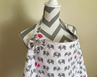 Elephant Nursing Cover - grey and hot pink elephant breastfeeding cover with a fabric flower clippie- Ready to ship