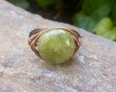 Wire Wrap Ring with Dakota Stones Green Garnet and Antiqued Copper Wire