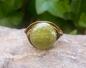 Wire Wrap Ring with Dakota Stones Green Garnet and Vintaged Bronze Wire