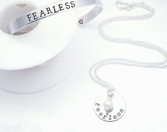 Silver Fearless Necklace & Bracelet Set, Graduation Gift, Fearless Jewelry, Choose Your Pearl Color, Fearless Necklace, Fearless Bracelet