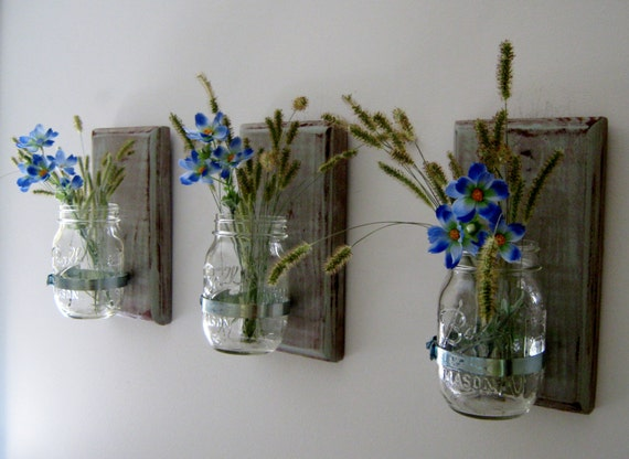 Wall Decor With Mason Jars : Mason jar wall decor country rustic by