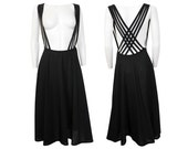 Reserved --- YOHJI YAMAMOTO Vintage Multistrap Suspender Skirt Black Japan Avantgarde US Size 6 Small