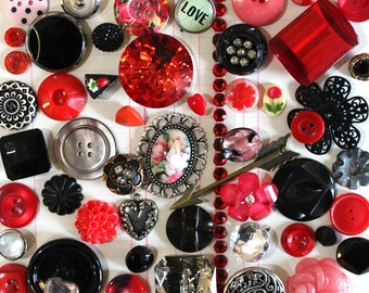 Valentine's Day Red and Black Button Inspiration Kit*Pink Inspiration*Buttons and Embellishments