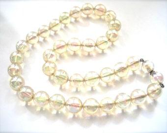 Shiny Bubbles!  Vintage Lucite Soap Bubble Beads Necklace Aurora Borealis  1950's