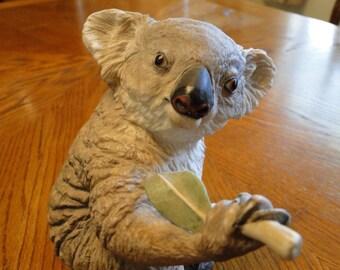 Boehm Collectible Koala Sculpture, #20099, Porcelain Koala Bear eating a leaf, Vivid Wildlife Figurine,
