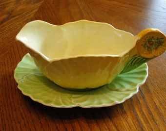 Carlton Ware Salad Ware Sauce Dish with Tray, England, Cabbage Style Gravy Boat, English Yellow & Green Leaf Dish