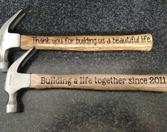 Valentine's Day Anniversary Personalized Hammer *Gifts for Men* Fifth 5th Wood Anniversary Building Memories *Create your own message!*
