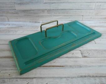 Wood Valet-Aqua Desk Valet-Dresser Valet-Jewelry Holder-Dresser Organizer-Painted Wood Dresser Valet-Desk Valet-Painted and Distressed