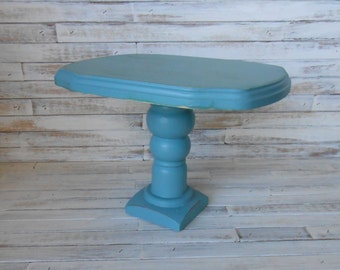 Teal Pedestal Stand - Dessert Pedestal Stand -Beach/Coastal Decor- Home Decor Pedestal Stand - Painted and Distressed Dessert Stand