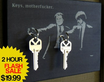 "2 HR SALE Key Holder ""Keys Motherf*cker"" Key Holder on Wood Mounted Wall Art. These Guys are Reminding You to Take Your Keys!"