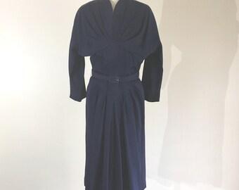 Vintage 1940s dress - 1940s navy dress - 40s dress - 40s navy draping dress - New Look dress - 40s blue dress