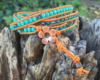 Teal and Orange Wrap Bracelet