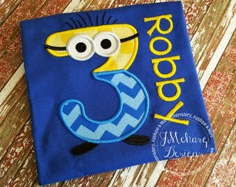 Minion Inspired Embroidered Birthday Tee - Custom Tee - Despicable Me 63