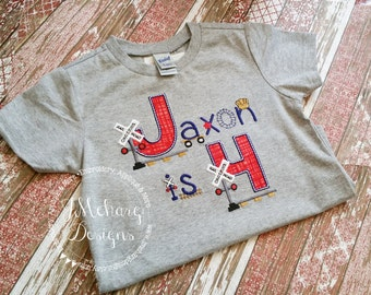 Railroad Crossing Birthday Shirt - Train Birthday Shirt -  Custom Tee Personalized Birthday Tee