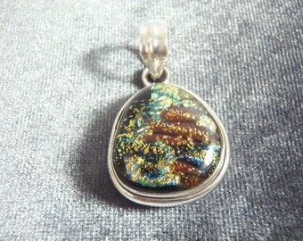 Sterling Silver Dichroic Glass Pendant P82