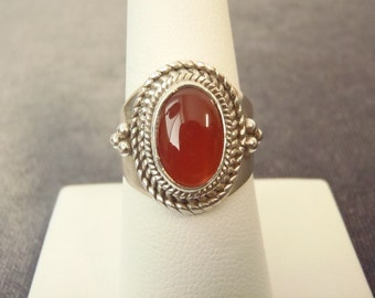 Sterling Silver Oval Carnelian Ring Sz.8 R81