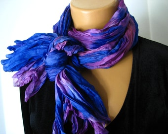Blue, Pink and Purple Soft Pleated Silk Scarf. 36x70 inch Sapphire & Orchid Silk Scarf. Hand Dyed Crinkle Scarf, Wrap, Shawl, Sarong.