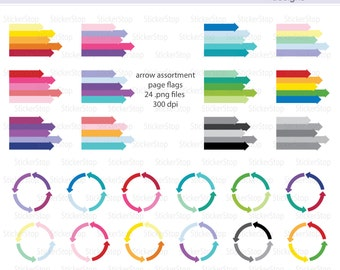 Assortment of Arrows Page Flags Digital Clipart in a Rainbow of Colors - Instant download PNG files