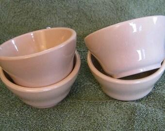 McNicol Roloc Tan Soup Cups Monkey Dishes 4 inch diameter pristine Foursome Restaurant Ware China