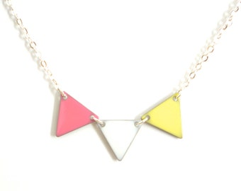"""Necklace """"pastel yellow white pink flag"""""""